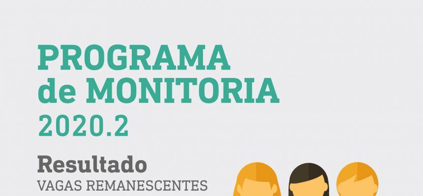 PROGRAMA DE MONITORIA 2020.2 - VAGAS REMANESCENTES - REsultado