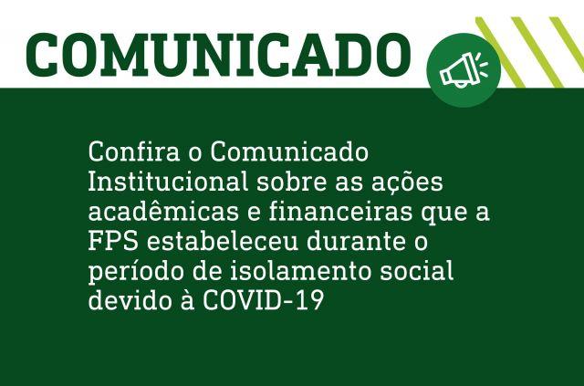 Comunicado sobre ações durante a COVID-19